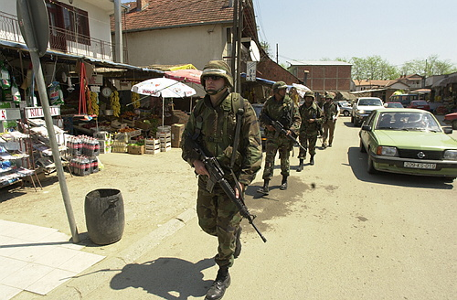 Patroling the town of Gjilan